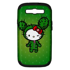 Vector Cat Kitty Cactus Green  Samsung Galaxy S Iii Hardshell Case (pc+silicone)