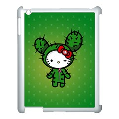 Vector Cat Kitty Cactus Green  Apple Ipad 3/4 Case (white) by amphoto
