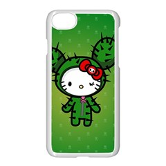 Vector Cat Kitty Cactus Green  Apple Iphone 7 Seamless Case (white) by amphoto