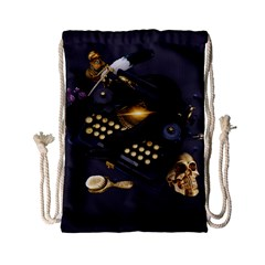 Typewriter Skull Witch Snake  Drawstring Bag (small) by amphoto