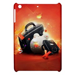 Suitcase Orange Red Black White  Apple Ipad Mini Hardshell Case by amphoto