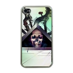 Skull Triangle Wood  Apple Iphone 4 Case (clear)