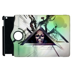 Skull Triangle Wood  Apple Ipad 2 Flip 360 Case by amphoto