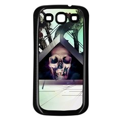 Skull Triangle Wood  Samsung Galaxy S3 Back Case (black) by amphoto
