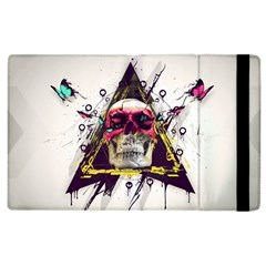 Skull Paint Butterfly Triangle  Apple Ipad 3/4 Flip Case by amphoto
