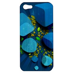 Cube Leaves Dark Blue Green Vector  Apple Iphone 5 Hardshell Case by amphoto