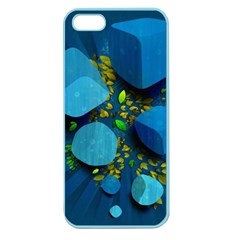 Cube Leaves Dark Blue Green Vector  Apple Seamless Iphone 5 Case (color) by amphoto