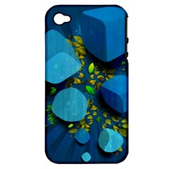 Cube Leaves Dark Blue Green Vector  Apple Iphone 4/4s Hardshell Case (pc+silicone) by amphoto