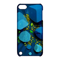 Cube Leaves Dark Blue Green Vector  Apple Ipod Touch 5 Hardshell Case With Stand by amphoto