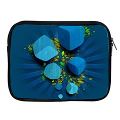 Cube Leaves Dark Blue Green Vector  Apple Ipad 2/3/4 Zipper Cases by amphoto