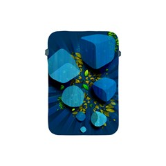 Cube Leaves Dark Blue Green Vector  Apple Ipad Mini Protective Soft Cases by amphoto