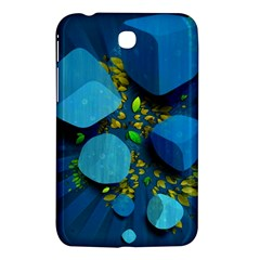 Cube Leaves Dark Blue Green Vector  Samsung Galaxy Tab 3 (7 ) P3200 Hardshell Case  by amphoto