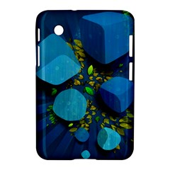Cube Leaves Dark Blue Green Vector  Samsung Galaxy Tab 2 (7 ) P3100 Hardshell Case  by amphoto