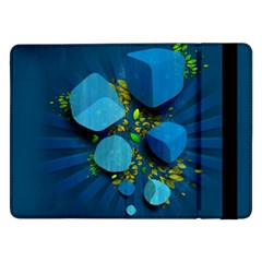 Cube Leaves Dark Blue Green Vector  Samsung Galaxy Tab Pro 12 2  Flip Case by amphoto