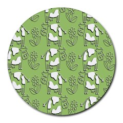 Cow Flower Pattern Wallpaper Round Mousepads