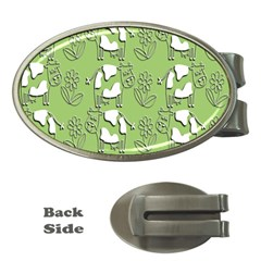 Cow Flower Pattern Wallpaper Money Clips (oval)  by Nexatart