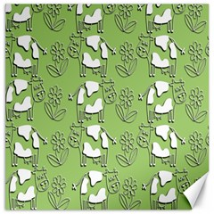 Cow Flower Pattern Wallpaper Canvas 16  X 16