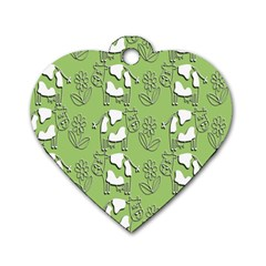 Cow Flower Pattern Wallpaper Dog Tag Heart (one Side)