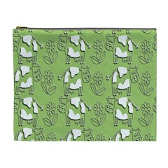 Cow Flower Pattern Wallpaper Cosmetic Bag (xl)