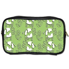 Cow Flower Pattern Wallpaper Toiletries Bags by Nexatart