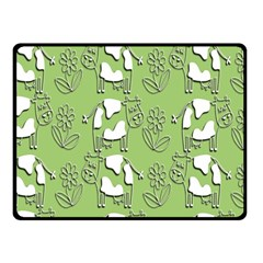 Cow Flower Pattern Wallpaper Fleece Blanket (small)