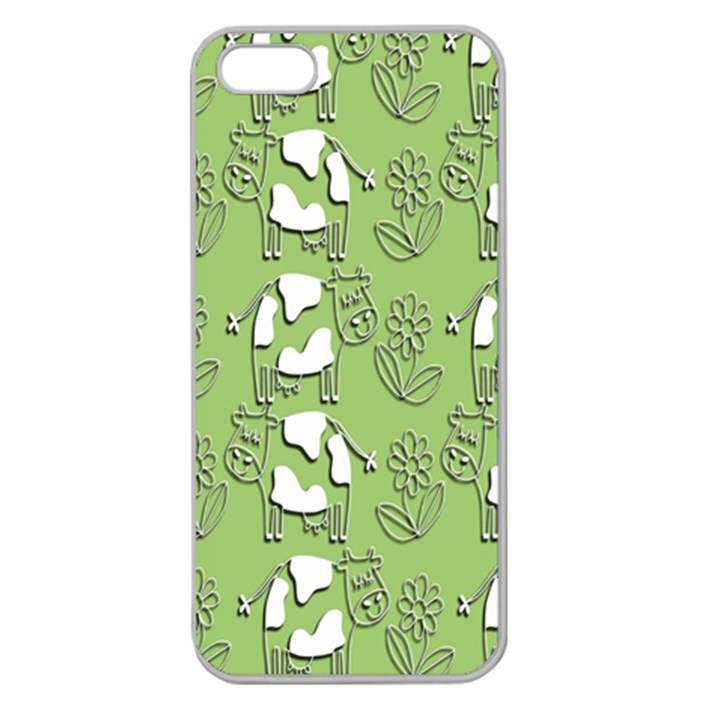 Cow Flower Pattern Wallpaper Apple Seamless iPhone 5 Case (Clear)