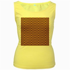 Chevron Brown Retro Vintage Women s Yellow Tank Top