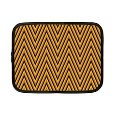 Chevron Brown Retro Vintage Netbook Case (small)  by Nexatart