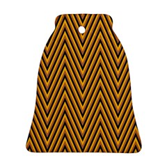 Chevron Brown Retro Vintage Ornament (bell) by Nexatart