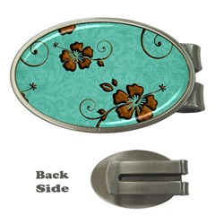 Chocolate Background Floral Pattern Money Clips (oval)