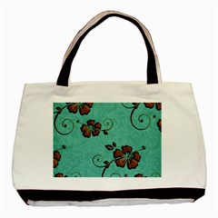 Chocolate Background Floral Pattern Basic Tote Bag