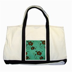 Chocolate Background Floral Pattern Two Tone Tote Bag