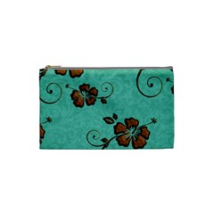 Chocolate Background Floral Pattern Cosmetic Bag (small)