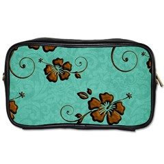 Chocolate Background Floral Pattern Toiletries Bags by Nexatart