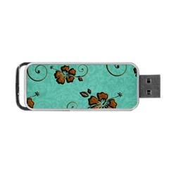 Chocolate Background Floral Pattern Portable Usb Flash (two Sides)
