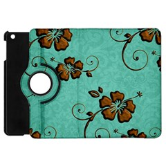 Chocolate Background Floral Pattern Apple Ipad Mini Flip 360 Case by Nexatart