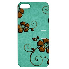 Chocolate Background Floral Pattern Apple Iphone 5 Hardshell Case With Stand