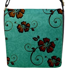 Chocolate Background Floral Pattern Flap Messenger Bag (s) by Nexatart