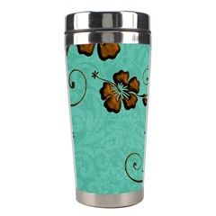 Chocolate Background Floral Pattern Stainless Steel Travel Tumblers by Nexatart