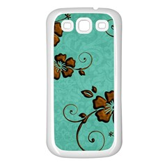 Chocolate Background Floral Pattern Samsung Galaxy S3 Back Case (white) by Nexatart