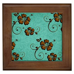 Chocolate Background Floral Pattern Framed Tiles by Nexatart
