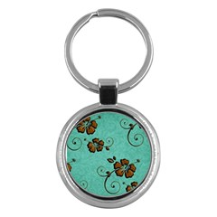 Chocolate Background Floral Pattern Key Chains (round)