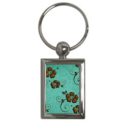 Chocolate Background Floral Pattern Key Chains (rectangle)  by Nexatart
