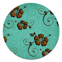 Chocolate Background Floral Pattern Magnet 5  (round)