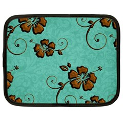 Chocolate Background Floral Pattern Netbook Case (large)
