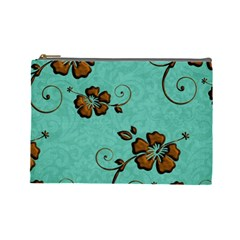 Chocolate Background Floral Pattern Cosmetic Bag (large)