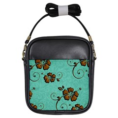 Chocolate Background Floral Pattern Girls Sling Bags by Nexatart