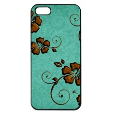 Chocolate Background Floral Pattern Apple Iphone 5 Seamless Case (black) by Nexatart
