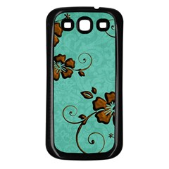 Chocolate Background Floral Pattern Samsung Galaxy S3 Back Case (black) by Nexatart