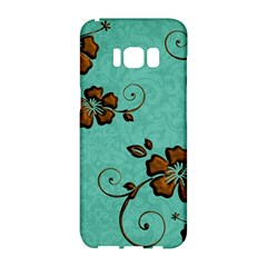 Chocolate Background Floral Pattern Samsung Galaxy S8 Hardshell Case  by Nexatart
